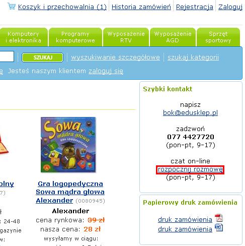 czat edusklep.pl pomoce dydaktyczne