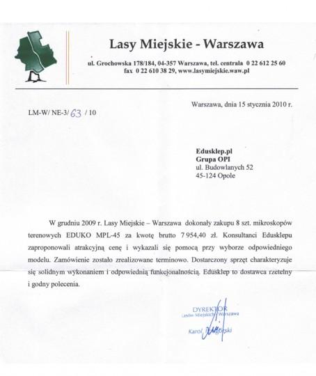 referencje dla edusklep.pl - Lasy Miejskie Warszawa