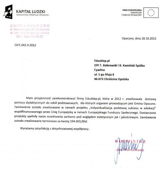referencje edusklep.pl - Gmina Opoczno